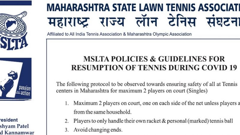 MSLTA POLICIES & GUIDELINES FOR RESUMPTION OF TENNIS DURING COVID 19